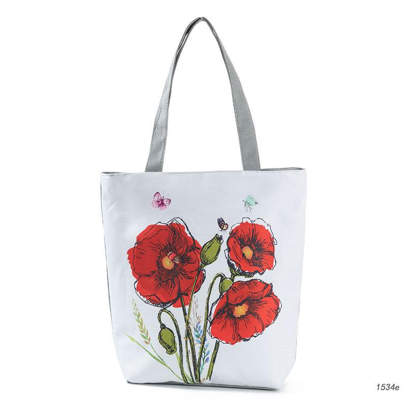 good quality Red Floral Printed Tote Handbag Female Large Capacity Canvas Shoulder Bag For Teenage Girls Summer Beach Bag