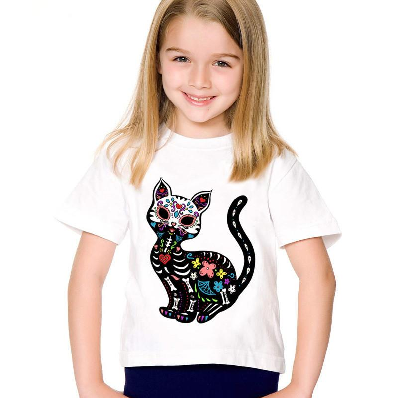 Fashion Print Cat Sugar Skull Children Funny T-shirts Kids Summer Short Sleeve Tees Boys/Girls Casual Tops Baby Clothes,HKP2051