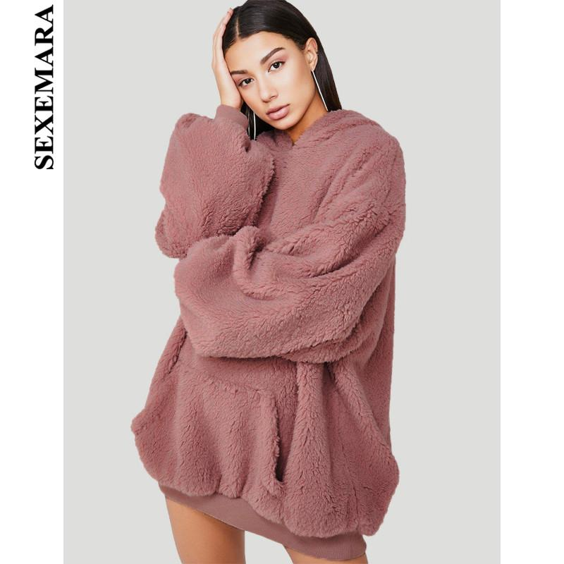 e891d67e7f 2019 SEXEMARA Pink Fleece Oversized Hoodies Streetwear Cute Plush Winter  Women Top Casual Loose Outerwear Sweatshirt Dress C70 AH86 From Clothfirst