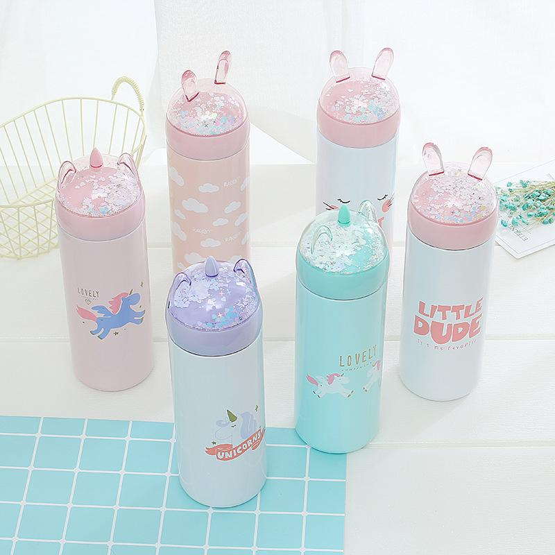 Unicorn Cartoon Sequins Insulated Tumblers 304 Stainless Steel Water Mug Christmas Gifts Student Gift Water Bottle 17jb A1
