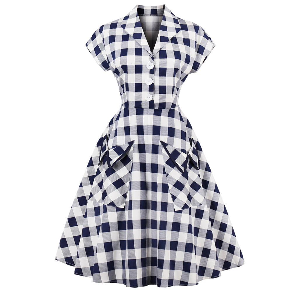 1e15ec733f Kenancy 60s Audrey Hepburn Vintage Dress Plus Size 4xl Plaid Print Women  Party Dress Elegant Swing Rockabilly Feminino Vestidos Y19012201