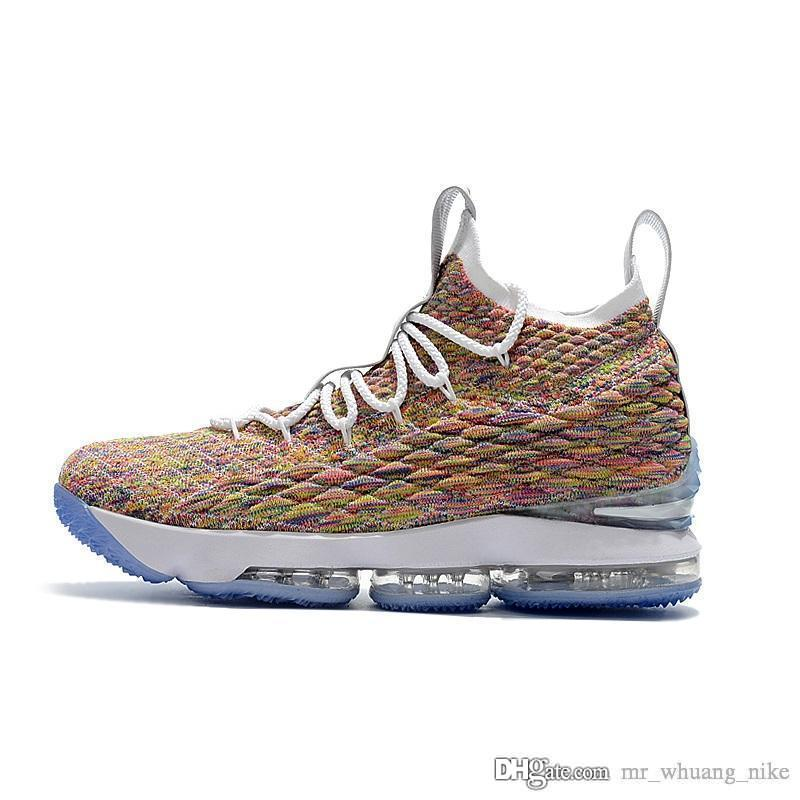 huge discount 8065c 0baec Cheap Mens lebron 15 basketball shoes for sale Fruity Pebbles youth kids  outdoor sneakers with box size 7 12