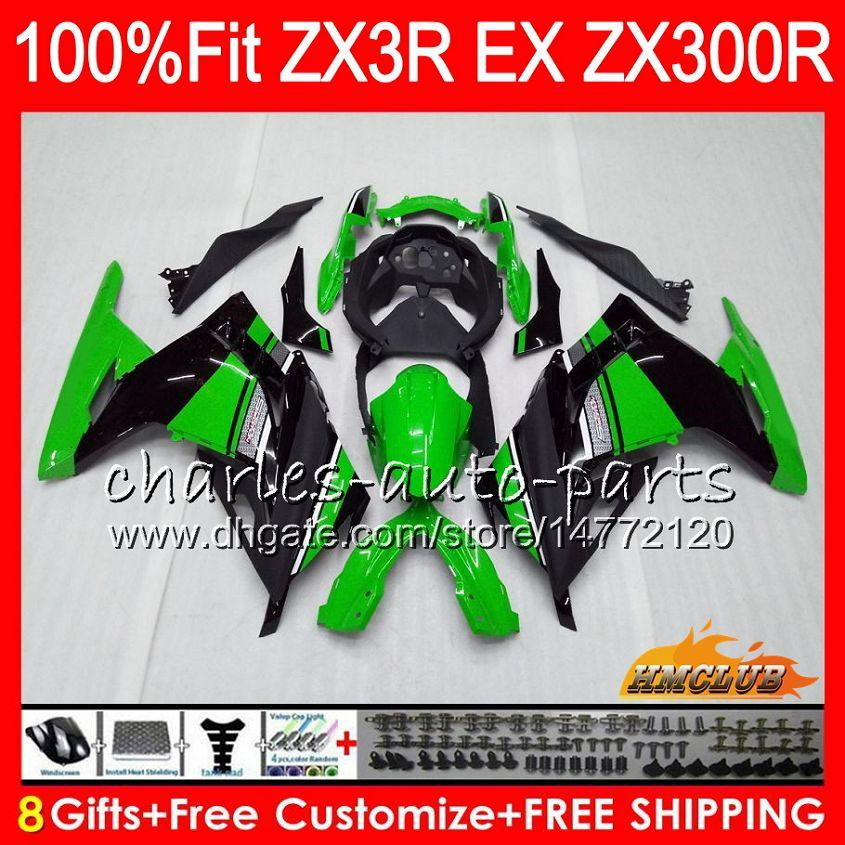 Injection For KAWASAKI NINJA EX 300 ZX 300R 2013 2014 2015 2016 2017 27HC.72 green black ZX3R EX300 R ZX-3R ZX300R 13 14 15 16 17 Fairing