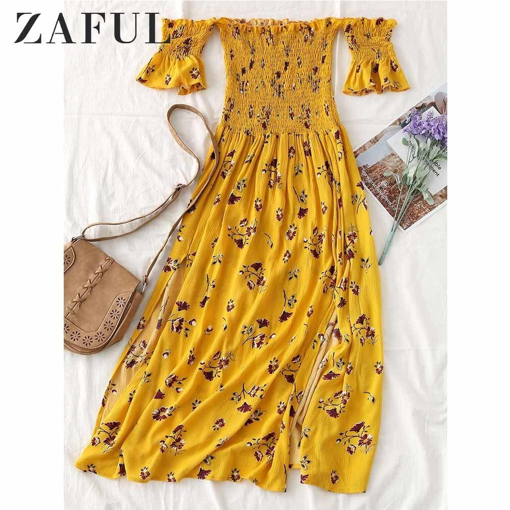 c3d8941f1 2019 Zaful Smocked Off Shoulder Floral Slit Midi Dress Casual Sweet Summer  Girls Beach Dresses Vestido De Festa Cotton Robe Femme C19040402 From  Linmei0006