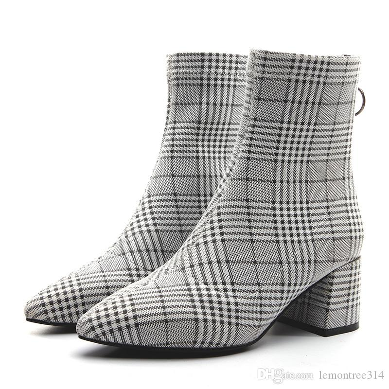 98baec83d65 Women Pointed Toes Plaid Ankle Boots Chunky Heels Lady Fashion Boots Back  Zip Shoes Grid Boots Pumps JY20 Fashion Shoes Winter Shoes From  Lemontree314