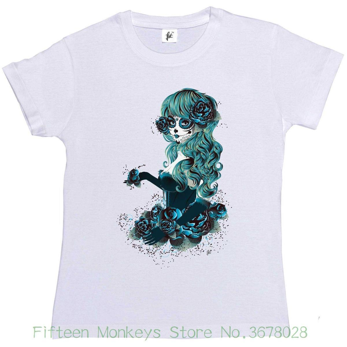 112d725c Women's Tee Day Of The Dead Sugar Skull Woman With Long Hair Womens Ladies T -shirt Female T-shirt Kawaii Punk Tops Tee