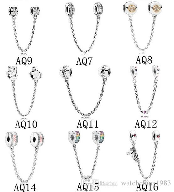 Safety Chain Charms Beads Fits Pandora Bracelets Authentic 925 Sterling Silver Jewelry DIY Accessories Fashion Jewelry