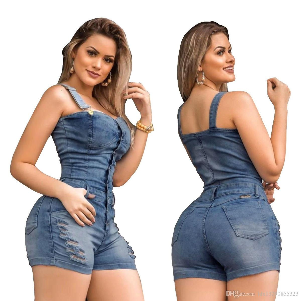 Summer Casual Denim Playsuits Women Button Front Spaghetti Strap Overalls Denim Rompers