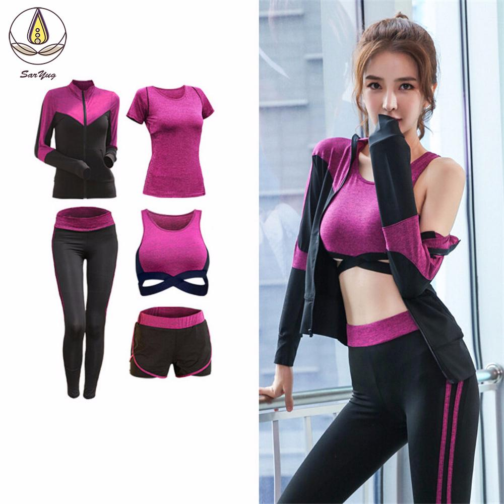 Yoga 5pcs Set Women Quick Dry Sexy Bra T Shirt Coats Shorts Pants Outdoor Sports Running Clothing Fitness Gym Suit Sets Training