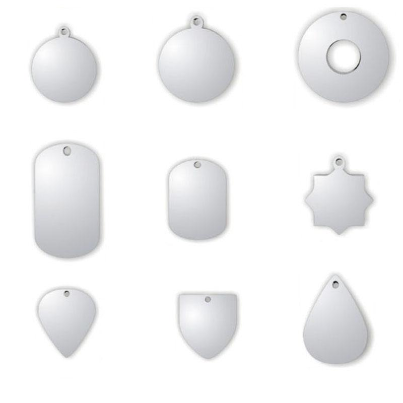 All kinds of shapes Customized Blank Stainless Steel Pet Dog Tags Men Pendants Wholesale 110pcs