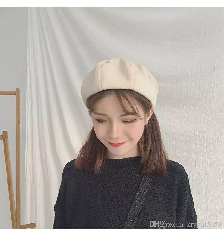 Compre Boina Mujer Otoño   Invierno Coreano Ins Británico Otoño   Invierno  Versátil Sombrero Octagonal Dulce Dulce Encantador Pintor Tendencia Del  Sombrero ... 47db9da446f0