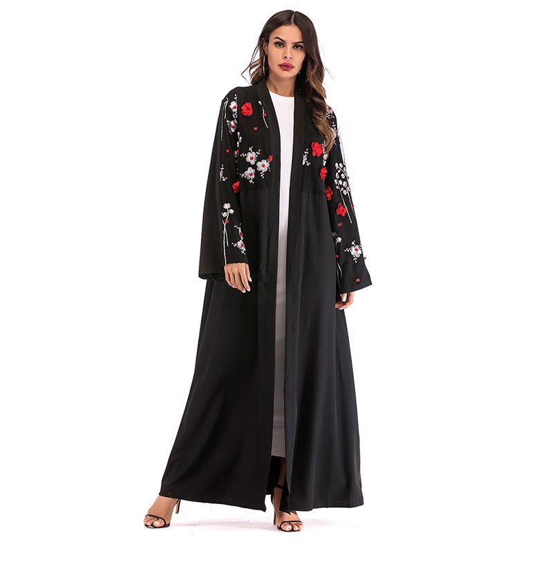 3024af922 Compre Moda Musulmana Vestido Estereoscópico Flor Casual Puntada Abierta  Larga Cardigan Cazadora Túnica Batas Mujer Casual Maxi Vestidos Abrigo Con  Fajas A ...