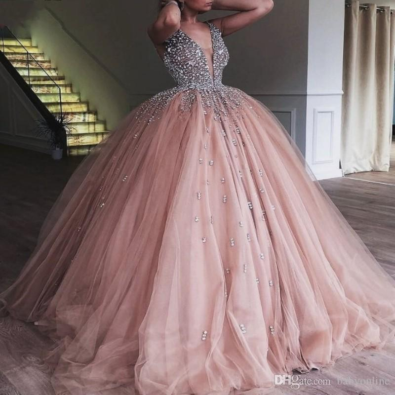 Champagne Tulle Ball Gown Quinceanera Dress 2019 Elegant Heavy Beaded Crystal Deep V Neck Sweet 16 Dresses Evening Prom Gowns
