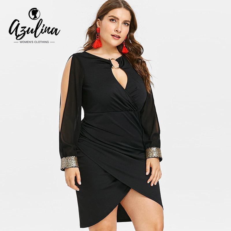 0526fb456 Compre Azulina Plus Size Buraco Da Fechadura Do Pescoço Lantejoulas Fenda  Bodycon Dress 2018 Outono Mulheres Vestidos De Festa Vestidos Ol Club Dress  ...