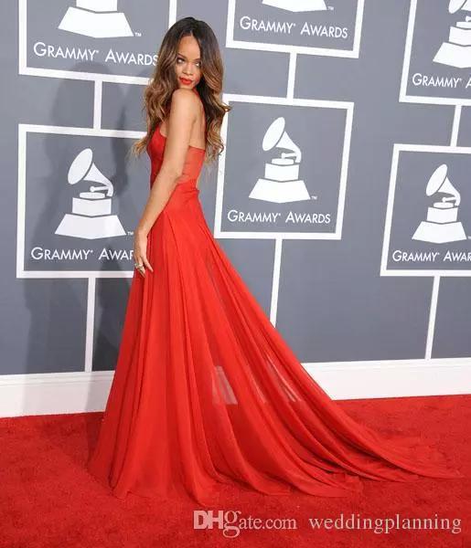 07a01cd4fe4 Compre Inspiración Formal Por Rihanna Prom Gowns Premios Grammy Alfombra  Roja Vestidos Famosos Una Línea Sheer Crisscross Chiffon Vestidos De Noche  De Color ...