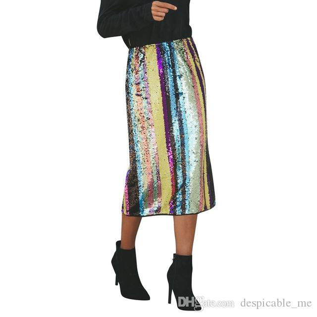 New Fashion Skirt Women Sexy Striped Patchwork Sequined Split Hem Party High  Waist Skirt Online with  22.76 Piece on Despicable me s Store  29cac468b66f