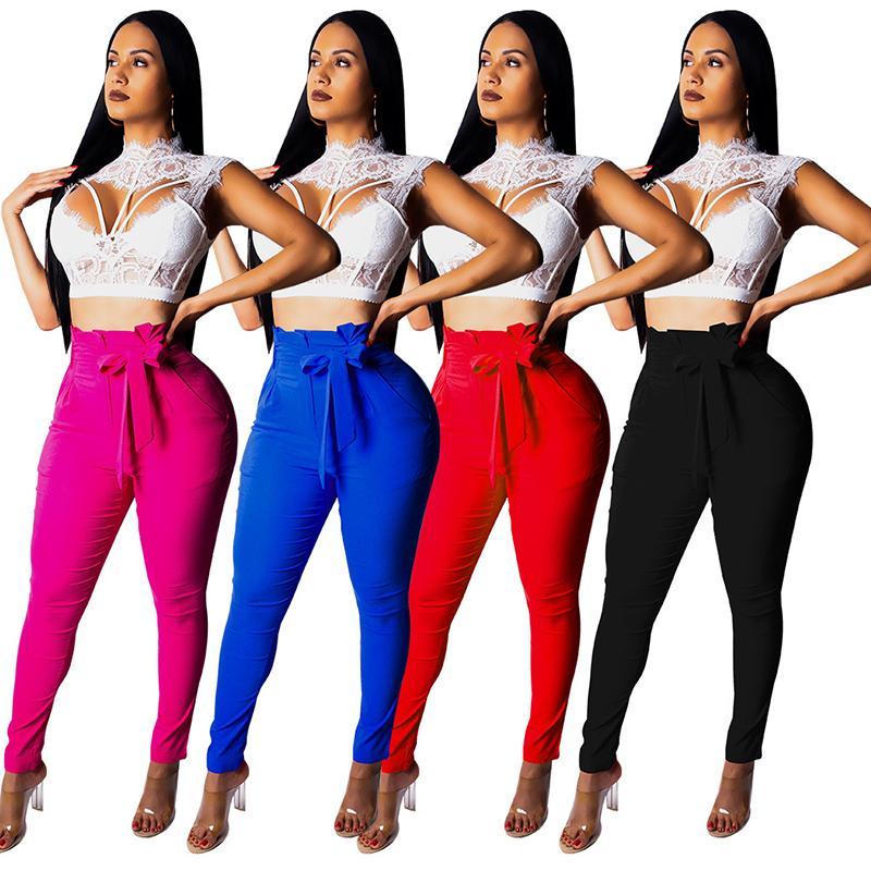 147c12b8557 Solid Color Pencil Pants High Elastic Casual Skinny Pants Slim Pockets Long  Pants Sexy Plus Size Women Clothes Leggings Trousers Zipper Women Trousers  Women ...