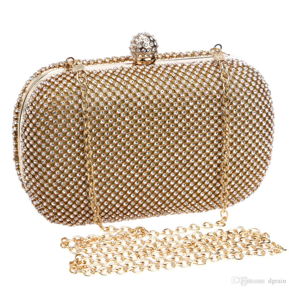 Women Fashion New Designer Clutches Golden Rhinestone Crystal Clutch Purse  Women Evening Bag Wedding Party Prom Chain Shoulder Crossbody Bag Vintage  Bags ... eda88d5ddd10