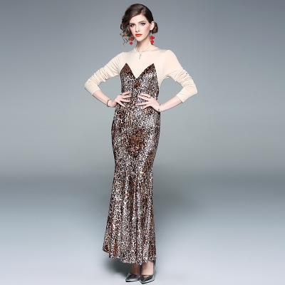 33370757f Vestidos de trompeta / sirena de moda para mujer de 2019 primavera, vestido  largo con paneles de leopardo bonito, faldas de pasarela elegantes, manga  ...