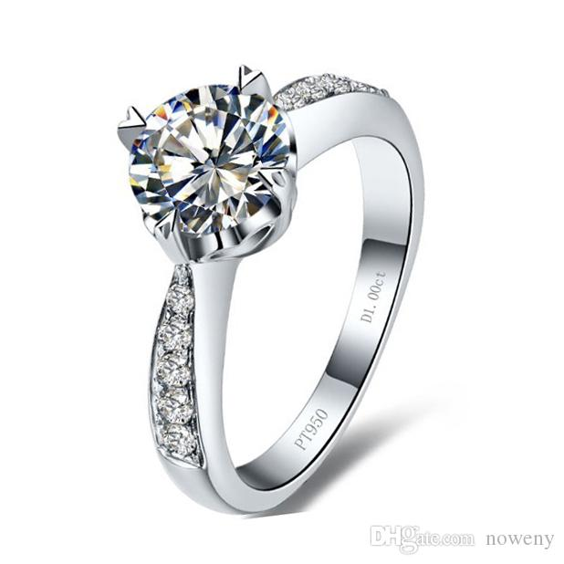 40625dfcc 2019 Fashion 1 CT Synthetic Diamond Heart Rings Women 925 Sterling Silver  Ring In 18K Gold Plated Fine Jewelry For Lady PT950 Stamp From Noweny, ...