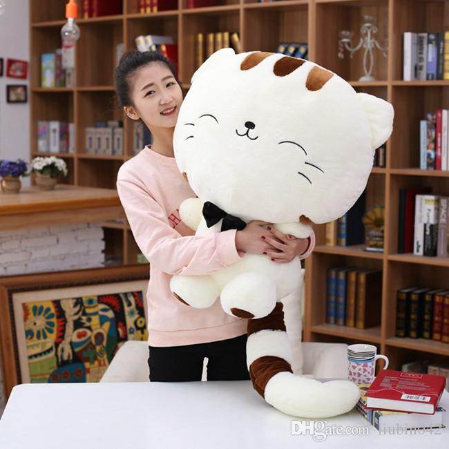 20170723 Hot Sales Big Face Smiling Cat Stuffed Plush Toys Soft Animal Dolls Factory Lowest Price Best Gifts For Kids Free Shipping