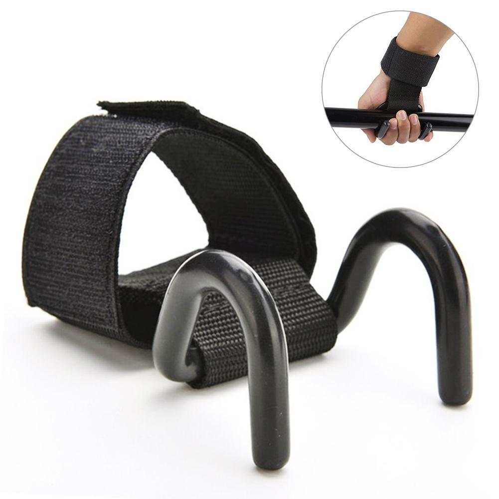 Wholesale- Black Professional Dumbbell weightlifting bar Weight Lifting Training Gym Hook Grips Straps Gloves Wrist Support Lift Straps