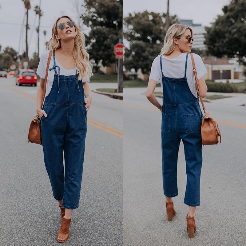 Acheter Femmes 2019 New Boyfriend Rompers Jeans Femme Bleu Marine Street Style  Denim Combinaisons Loose Fit Pantalon Une Pièce Pour Dames De $18.5 Du
