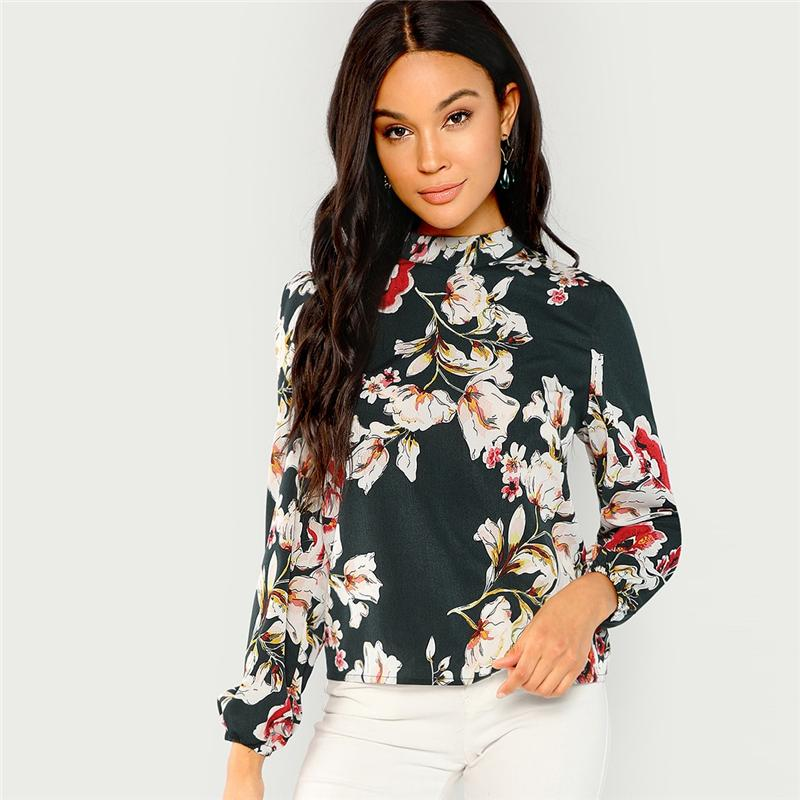 Green Elegant Office Lady Floral Print Mock Stand Collar Long Sleeve Blouse Autumn Highstreet Women Tops And Blouses
