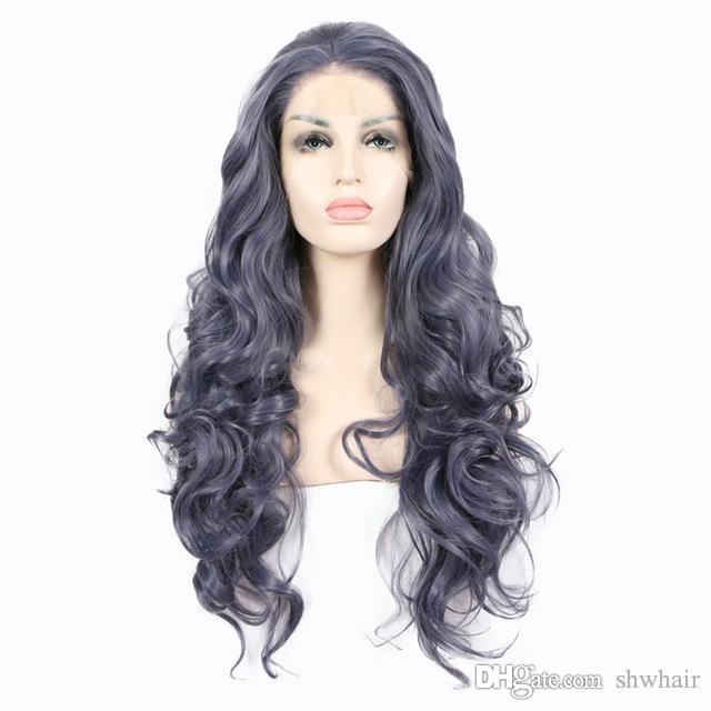 Grey Blue Hand Tied Synthetic Lace Front Wig Glueless Body Wave Heat Resistant Fiber Natural Hairline Synthetic Lacefront Wigs For Women