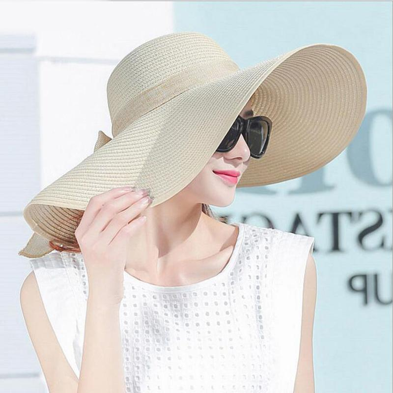 87a0da7a8e3c09 Elegant Style Summer Large Brim Straw Hat Adult Women Girls Fashion Sun Hat  Uv Protect Big Bow Summer Beach Hat C18122501 Fedora Hats For Men Cowgirl  Hats ...