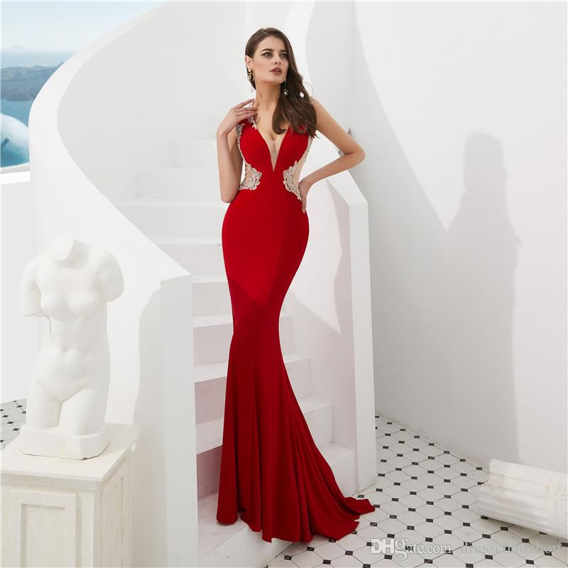 Sexy Prom Dresses Deep V Neck Pretend Transparent Beaded Crystal Zipper Evening  Dresses Beauty Dresses Hot Sale Online Dress Open Back Prom Dresses From ... 439166ce932e