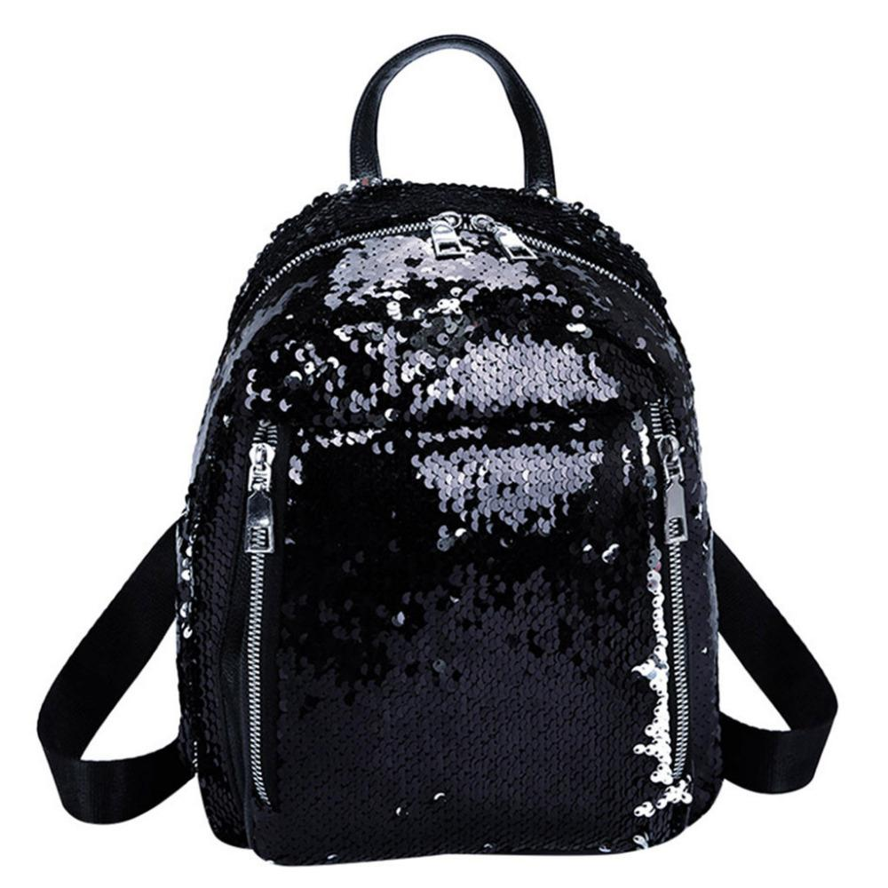 d568b6ad636 2019 Sequin Women Backpack Fashion Girl Solid Color Satchel Travel ...