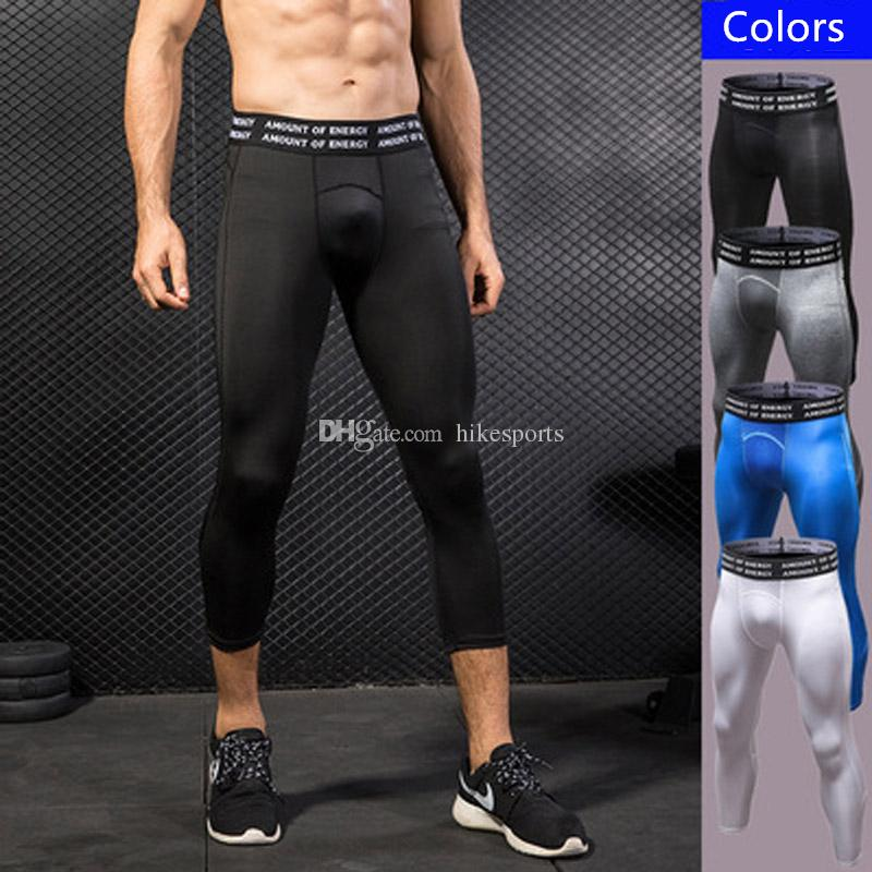 f848790017a679 2019 3/4 Running Pants Men Gym Exercise Elastic Tights Basketball Training  Cropped Leggings Compression Fitness Sports Trousers Yoga Jogger Pants From  ...