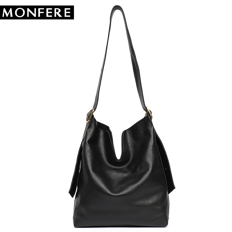 17424412da19 MONFERE Genuine Leather Hobo Handbags Women Classic Vintage Shoulder Bags  Casual Soft Black Leather Tote Crossbody Messenger Bag Canada 2019 From  Smart78