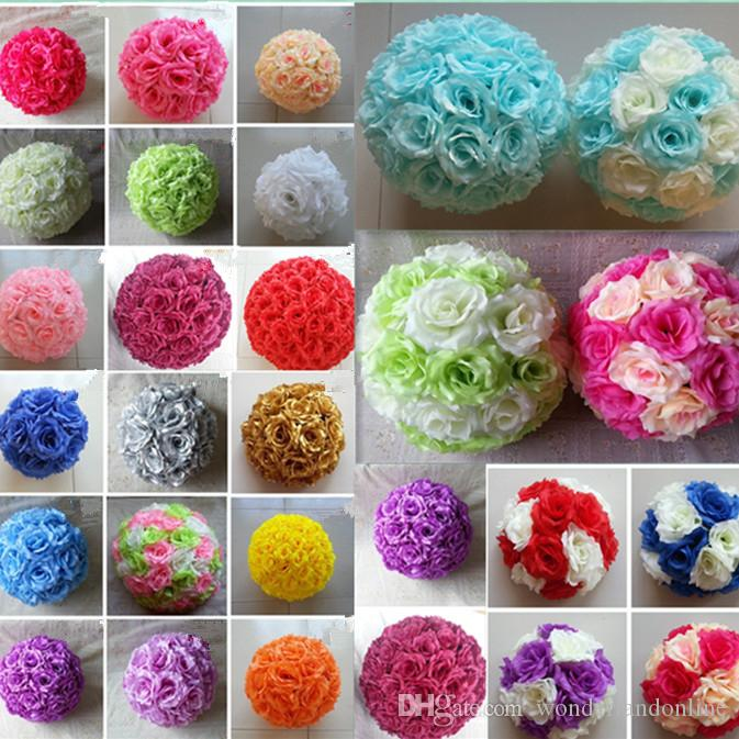 6pcs Artificial Rose balls Silk Flowers Mixed colors Kissing Balls Wedding Decorations Hanging rose Balls Christmas Ornaments