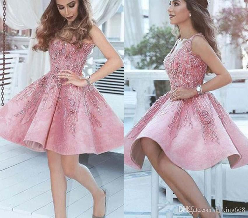136729ab67ab 2019 Luxurious Short Arabic Pink Homecoming Dress A Line V Neck Juniors  Sweet 15 Graduation Cocktail Party Dress Plus Size Custom Made Casual  Homecoming ...