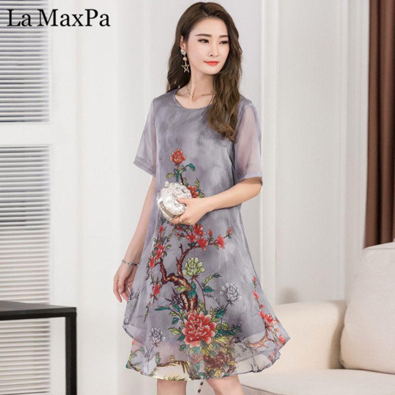 d677dcac5 Compre La MaxPa 2018 Mujeres Vestido De Verano Estampado Floral Vestido De  Gasa Casual O Cuello Vestidos De Manga Corta Vestidos Largos Largos A   27.68 Del ...