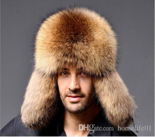 2018 New Hot Selling Men Winter Warm Real Raccoon Fur Lamb Leather ... e9193680449