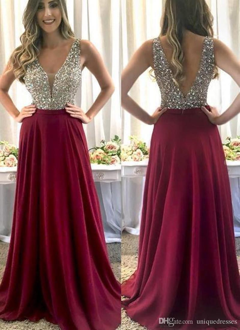 Crystal Beading Prom Dresses 2019 V Neck Long Evening Party Dress Backless Vestido De Fiesta Formal Gowns robe de soiree