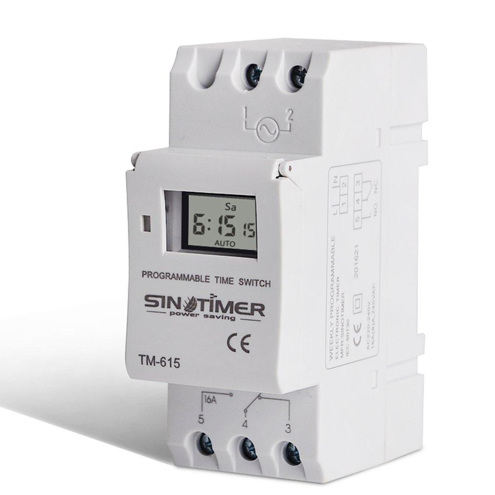 Sinotimer Ac 220v Weekly 7 Days Programmable Digital Time Switch Relay Timer Control Din Rail Mount For Electric Appliance Tools