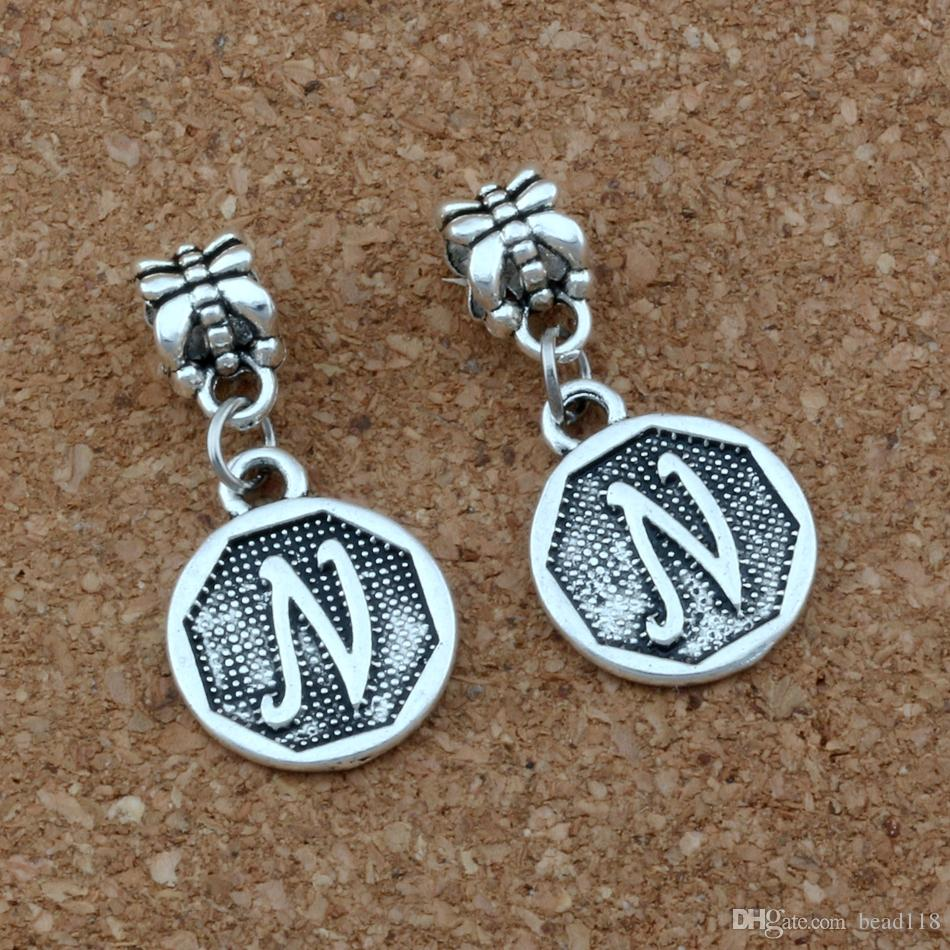 "50pcs/lot Antique silver Initial Alphabet Disc "" N "" Charm Big Hole Dangle European Beads Fit Charm Bracelet Jewelry DIY 14.8x30.8mm A-392a"