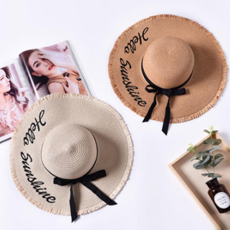 5ae4252d61cd9 MAERSHEI 2018 Letter Embroidery Cap Big Brim Ladies Summer Straw Hat ...
