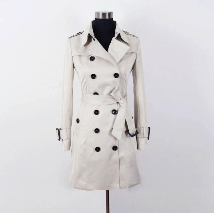 buy online f674e f470c Donne europee primavera trench coat donna manica lunga cappotti moda donna  femminile cappotto medio lunghezza abbigliamento donna