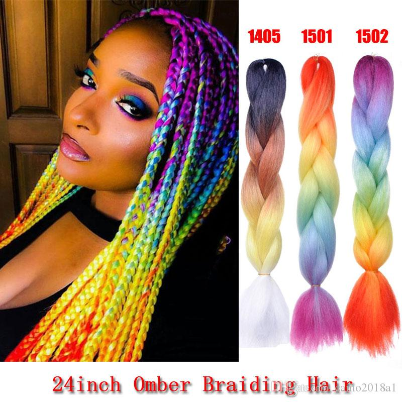 24' Sythentic Rainbow Colored Jumbo Braiding Hair Extensions For Black Women Kanekalon and Toyokaon 4 Tone Crochet omber Braids Hair Bulks