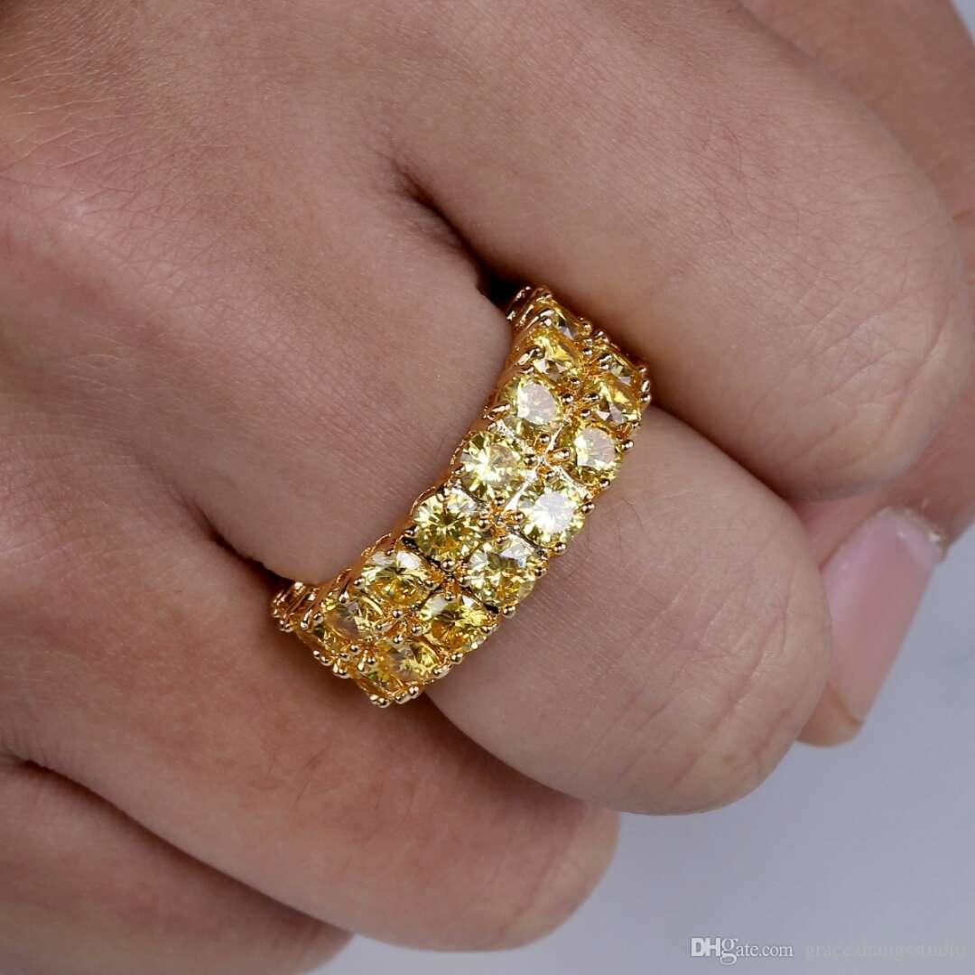 hip hop gold diamonds rings with side stones for men luxury crystal ring western hot sale 18k gold plated copper zircon jewelry gifts for bf