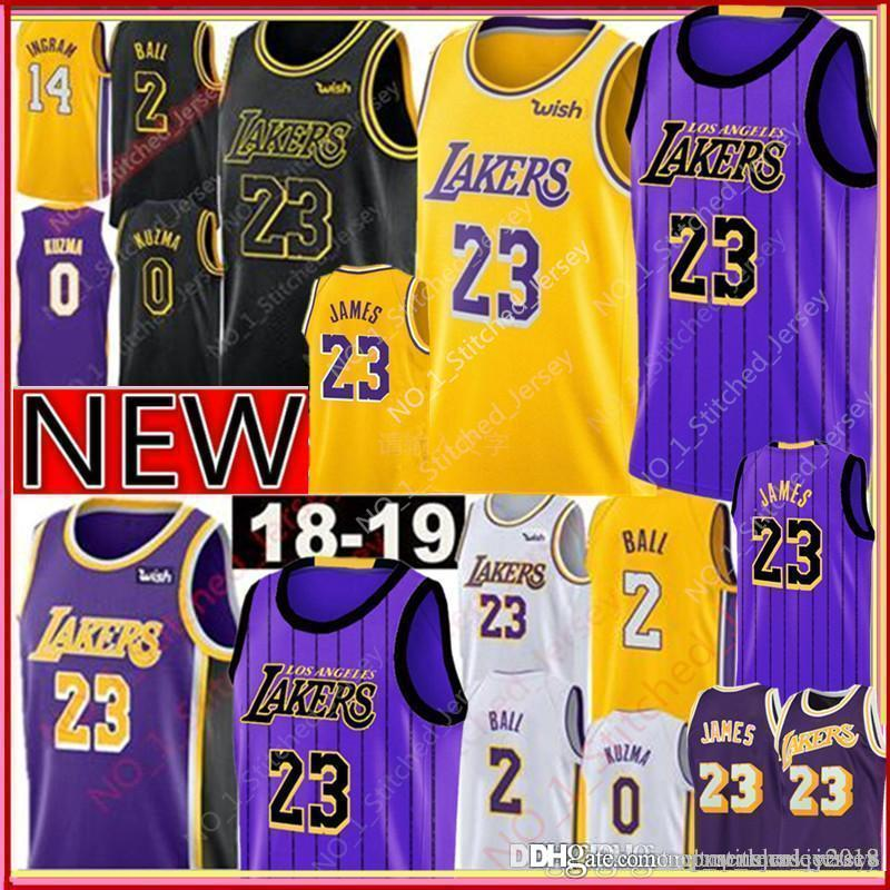 cheap for discount 47290 75171 23 LeBron James 2019 Los Angeles James Jersey New 2 Lonzo # Ball 0 Kyle #  Kuzma 14 Brandon # Ingram Jerseys