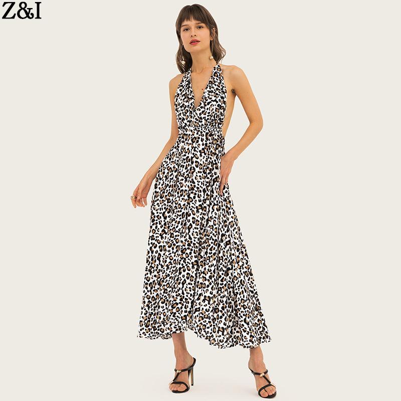 82b4c8ca87 Compre Vestido Sexy De Noche Con Estampado De Leopardo En Europa Y América.  Cuello Alto Con Cuello En V. Vestido De Noche De Playa.