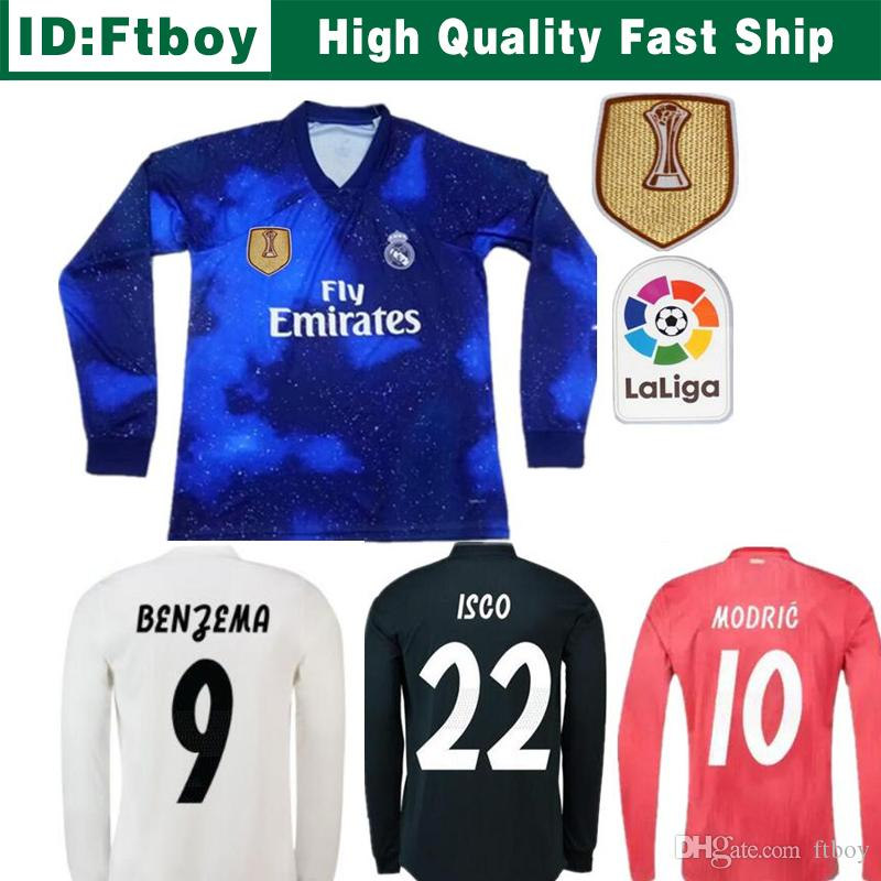 Camiseta De Mangas Largas 18 19 Real Madrid Soccer 2018 2019 Home Soccer    8 KROOS   22 ISCO Modric Football Uniforme Por Ftboy f01ebb3084960