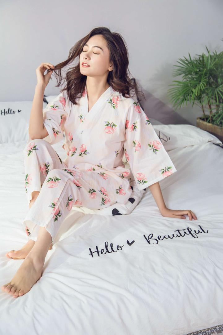 b1c10da409 Japanese Kimono Women Pajamas Spring Autumn Wear Long Sleeves Cotton ...