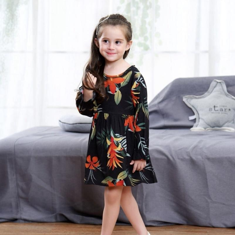 dbdfdeec382e 2019 Baby Girls Fall Dresses New Trend Spring Printed Full Flare Long  Sleeve Clothes England Style Costumes For Kids A Line Dresses From  Nextbest01